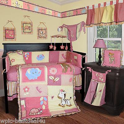 Baby Boutique - Jungle Animal - 15 pcs Nursery Crib Bedding