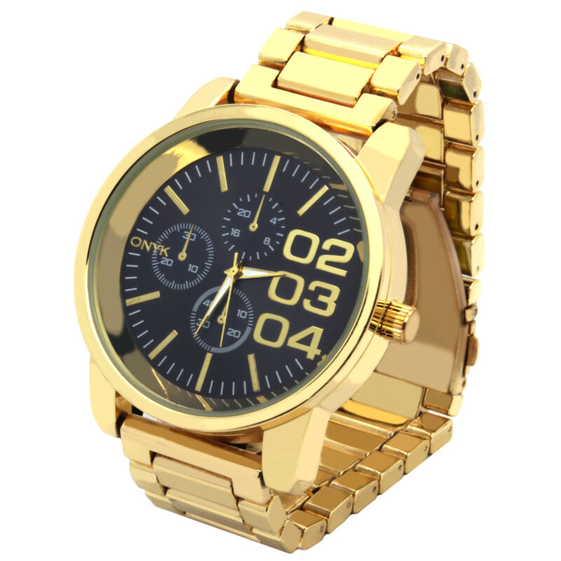 Mens Gold Plated Metal Band Black Face Fashion Casual Quartz Wrist watches