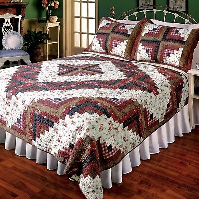 3PC Log Cabin Patchwork California King Bed Quilt Set/Bedding Package Log Bed Set
