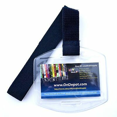 Arm Band Photo Id Badge Holder Vertical With Navy Blue Dark Blue Elastic Strap