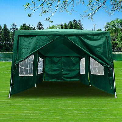 3x6m Heavy Duty Gazebo Waterproof Marquee Canopy Garden Party Wedding Tent Green