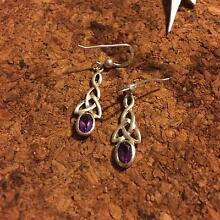 CELTIC KNOT AMEYTHST EARRINGS STERLING SILVER Seville Grove Armadale Area Preview