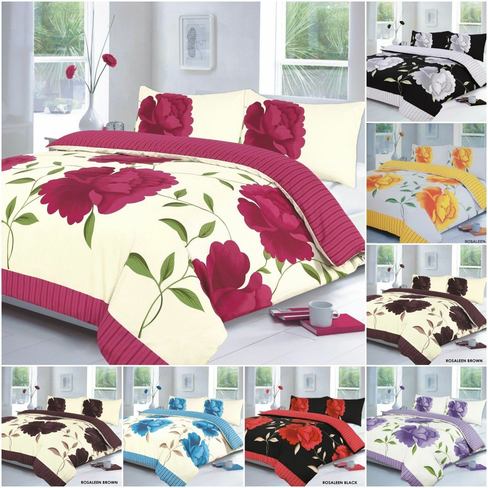 DUVET SET Floral Rosaleen BEDDING BED SETS SINGLE DOUBLE KING SIZE QUILT COVER