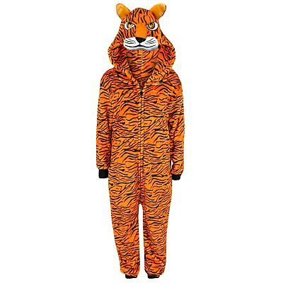 Kids Girls Boys A2Z Onesie One Piece Soft Fluffy Tiger Halloween Costume 5-13 Yr - Girls Tiger Onesie