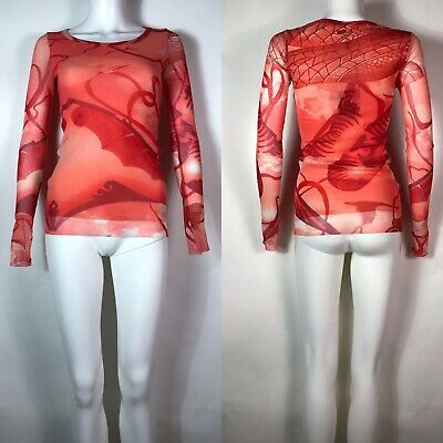Rare Vtg Jean Paul Gaultier Red Printed Mesh Top S