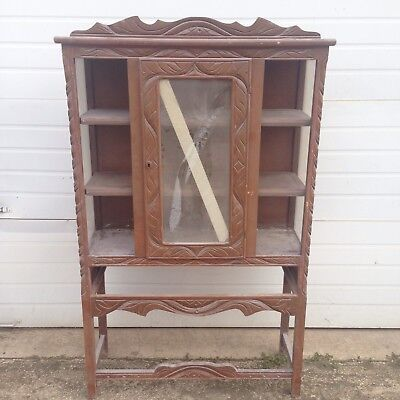 (Vintage Wood Glass China Cabinet Curio Display Cabinet As Is - Pickup Only)