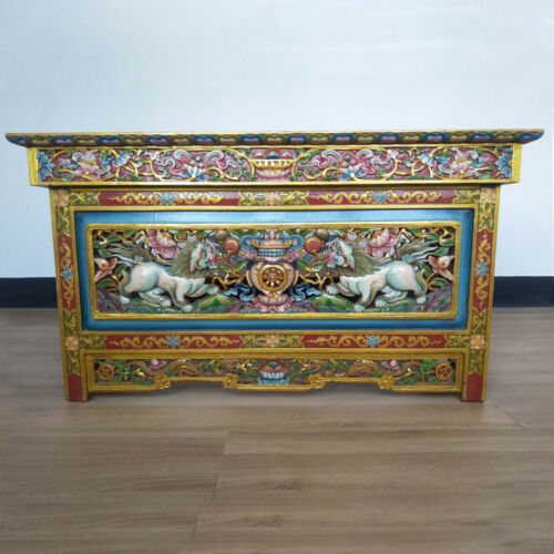 Tibetan Finest Buddhist Chokchi Wooden Carved Foldable Tea Table - Nepal