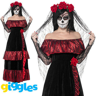 The Corpse Bride Halloween Outfit (Day of the Dead Corpse Bride Costume Womens Ladies Halloween Fancy Dress)