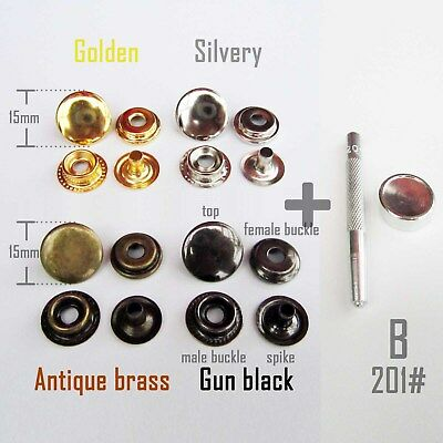 Metal 201 Snap Button Press Stud Leather Bag Clothes Popper Fastener + Tool Kit Metal Stud Fastener Kit