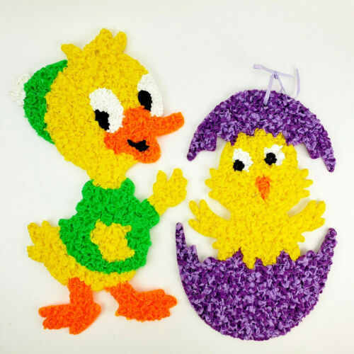 Vintage Easter Duck and Chick Melted Popcorn Plastic Decoration
