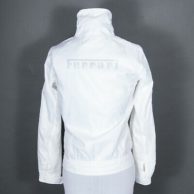 Puma Ferrari Full Zip Logo Jacket Vented Lightweight Windbreaker White XS