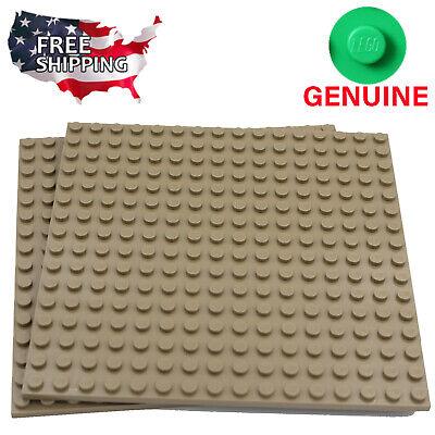 x2 Lego Dark Tan Baseplates Base Plates Brick Building 16 x 16 Dots Dark Tan