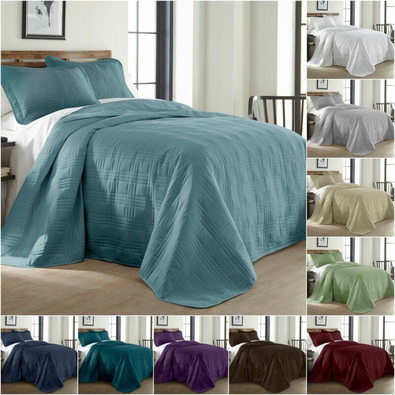Chezmoi Collection Kingston 3-piece Oversized Bedspread Coverlet Set (10 Colors)
