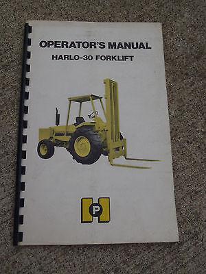 Harlo H-30 Harlo-30 Forklift Rough Terrain Lift Truck Operators Manual