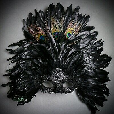 Large Mardi Gras Mask (Large Top Black Feather Venice Festival Mardi Gras Masquerade Mask for Women)