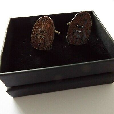 Pair of stylish Star Wars Chewbacca Cufflinks in gift box
