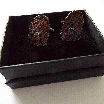 Pair of stylish Star Wars Chewbacca Cufflinks in gift box