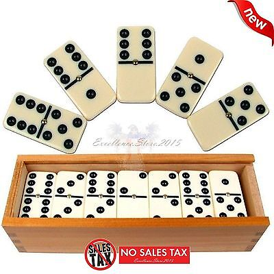 New Double Six Professional Dominoes With Brass Spinner In Wooden Case  28 Piece