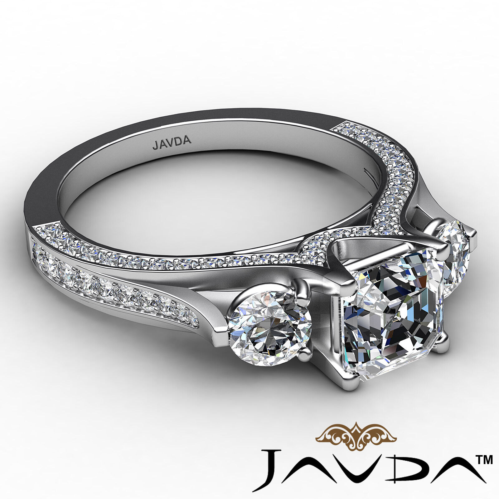 Asscher Diamond Engagement Pave Set 3stone Ring GIA G Color & SI2 clarity 2.1ctw 6