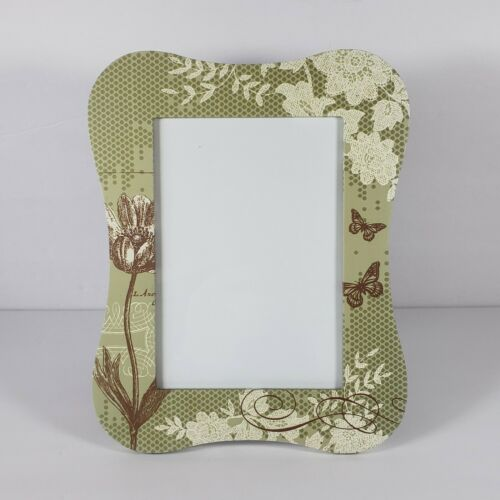 """Green Butterfly French Country Floral Picture Frame Holds 5""""x7"""" Photo"""