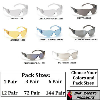 PYRAMEX INTRUDER SAFETY GLASSES ANSI Z87+ WORK EYEWEAR CHOOSE COLOR/PACK (Hunts Glass)