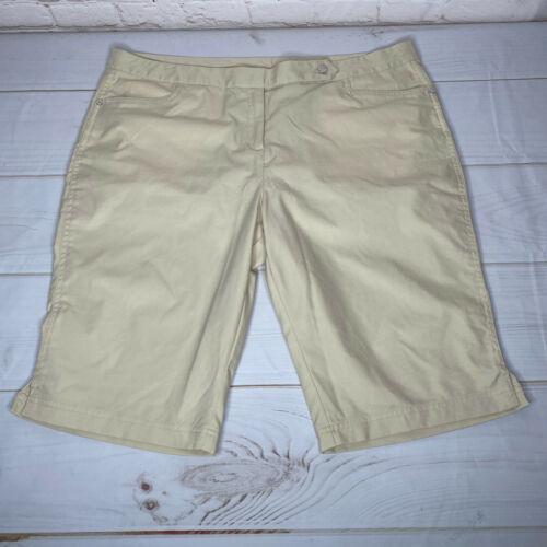 Callaway Womens Golf Shorts Size 16 Cream/Tan Polyester High Waist 4 Pockets
