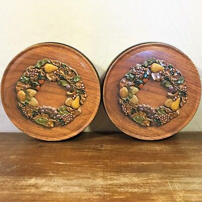 Lot: 2 Autumn/Fall Metal TIN Biscuit Canister Wood Grain CAN Pear Leaves Wreath ()