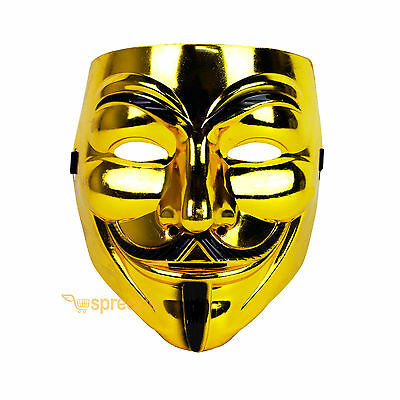 Gold V For Vendetta Face Mask Guy Fawkes Halloween Party Masquerade Anonymous - Halloween Mask Vendetta
