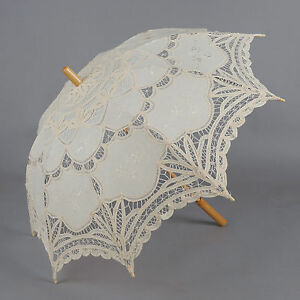 Ivory Battenburg Lace Parasol Umbrella Beauty Cosplay/Wedding Bridal Party