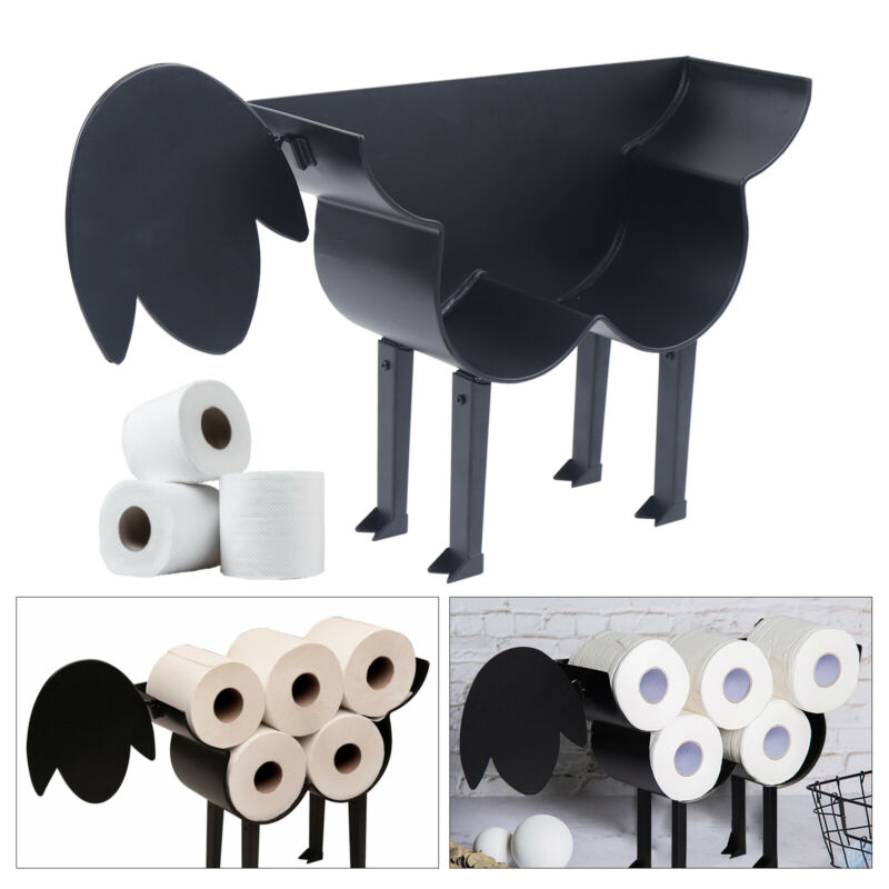 Black Toilet Paper Holder Bathroom Free-Standing Sheep Decorative Up to 7 Tissue