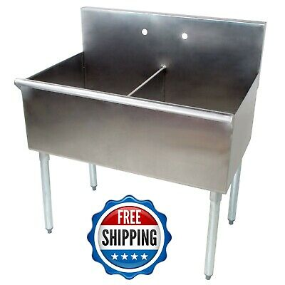 36 2 Compartment 18 x 21 x14 Stainless Steel Commercial Utility Prep Two -