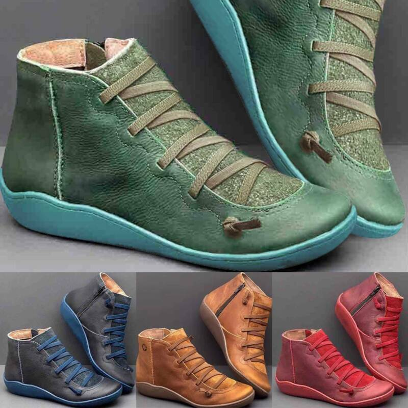Womens Arch Support Ankle Boots Ladies Casual Zip Lace Up Fl