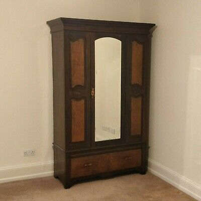 Edwardian Mahogany Wardrobe Bevelled Mirrored Single Door & Drawer Burnley BB11