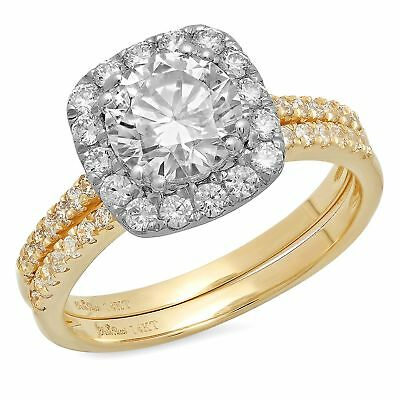 2.45ct Round Cut Halo Bridal Engagement Wedding Ring Band...