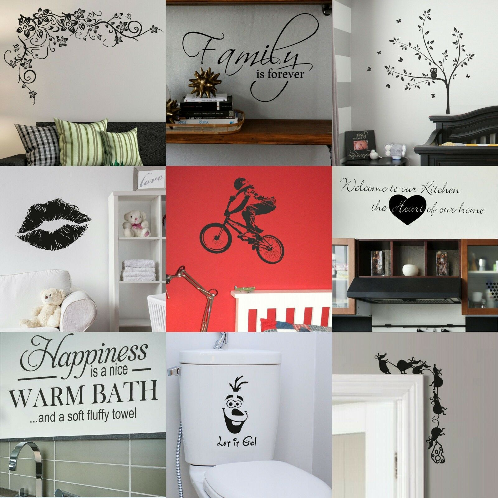 Home Decoration - VINYL WALL STICKERS! Interior Home Art Decor Quote Removable Decal Transfer UK