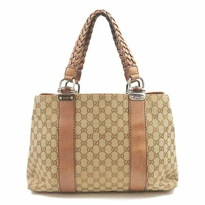 Authentic GUCCI Bamboo Bar GG Canvas Leather Tote Bag Brown 232947 Used F/S