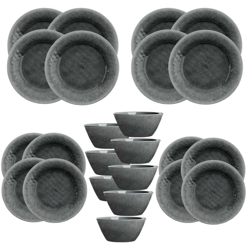Potters Reactive Glaze - Grey   - Melamine 24 Piece Outdoor Dinnerware