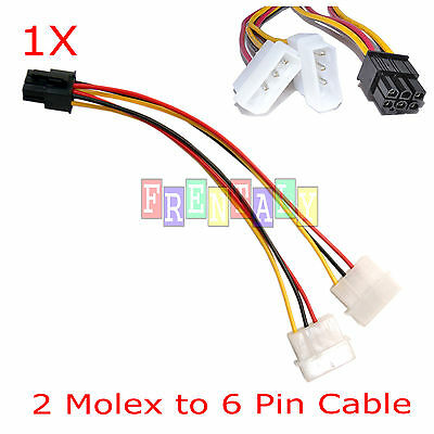4 pin molex to 6 pin pci express pcie card power converter adapter cable