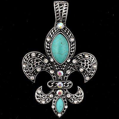 - Western Cowgirl Silver Fleur De Lis Saints Turquoise Rhinestone Magnetic Pendant
