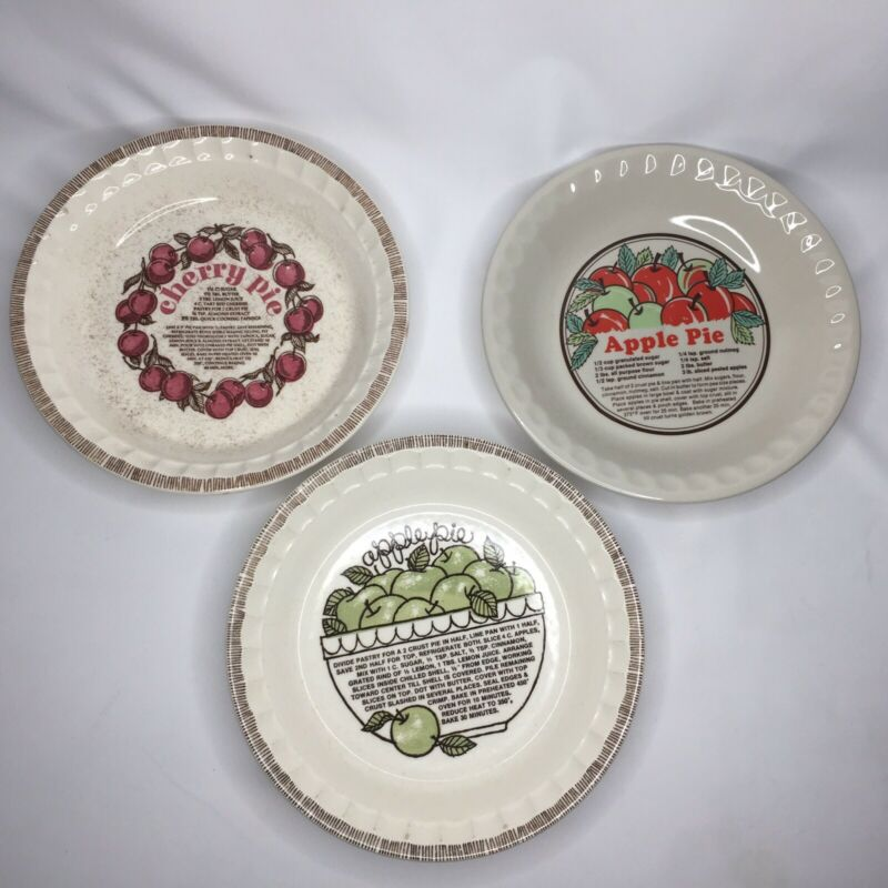 3 Vtg ROYAL CHINA Jeannette Sunnycraft Recipe PIE PLATE Apple Cherry Dish 11""
