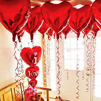 10 pcs 45cm Red Heart Foil Helium Balloons Wedding Party Valentines Day Home (Red Heart Helium Balloons)
