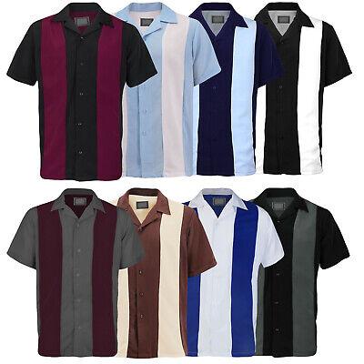 Men's Vintage Charlie Sheen Two Tone Casual Guayabera Dress Bowling Shirt