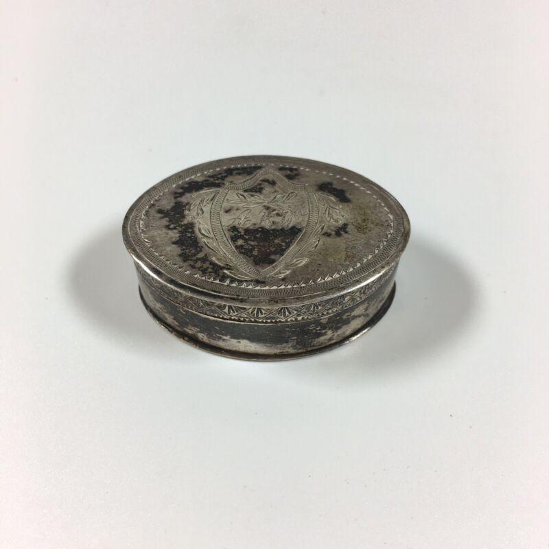 Antique Georgian Solid Silver Tested Oval Vinaigrette 4cm In Diameter