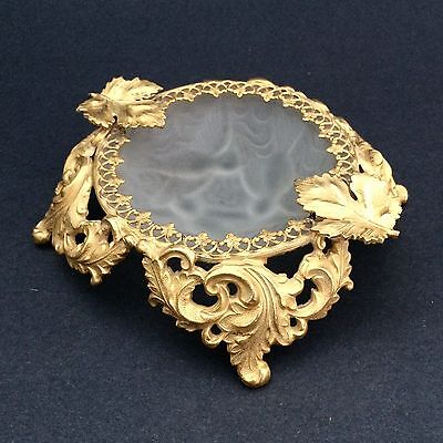 Vintage Gold-tone Ormolu Footed Trinket Dish Frosted Birds Acanthus Leaves