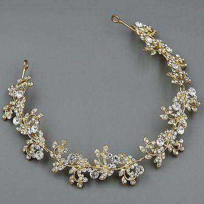Bridal Jewelry Accessories Wedding Headpiece Crystal Headband Tiara 00706 Gold