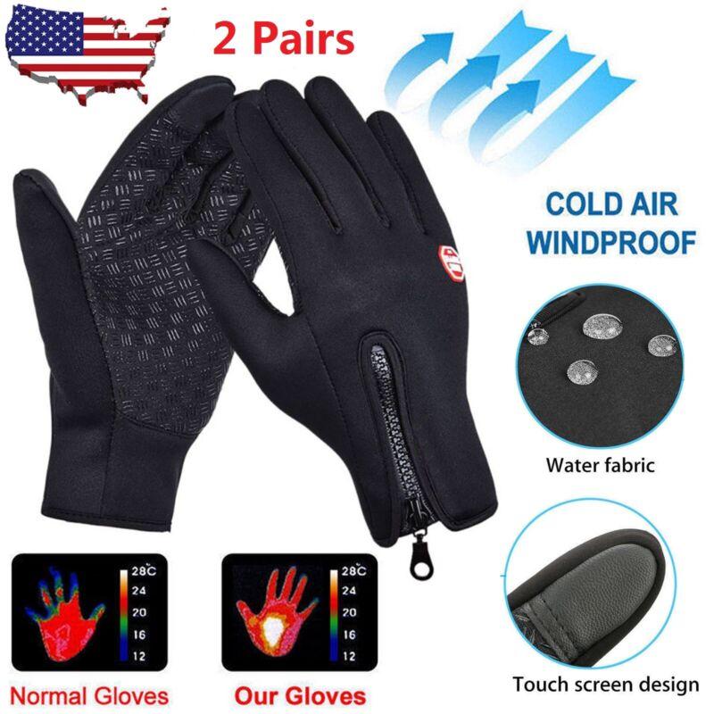 2Pair Unisex Winter Warm Windproof Waterproof Thermal Touch Screen Gloves Mitten