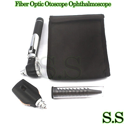 New Fiber Optic Otoscope Ophthalmoscope Examination Led Diagnostic Ent Set Black