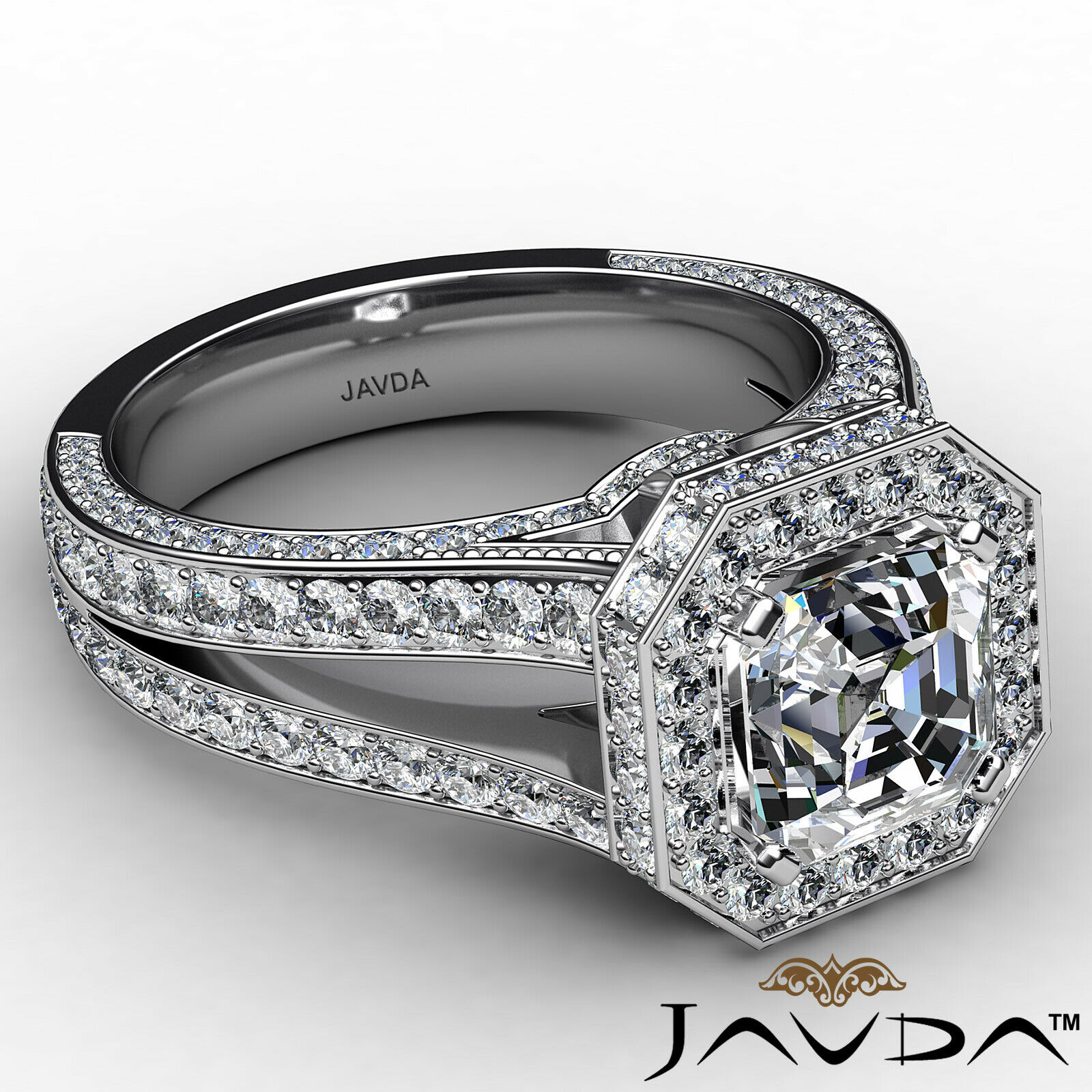 Halo Asscher Diamond Engagement Ring GIA Certified G Color & SI2 clarity 2.4 ctw 6