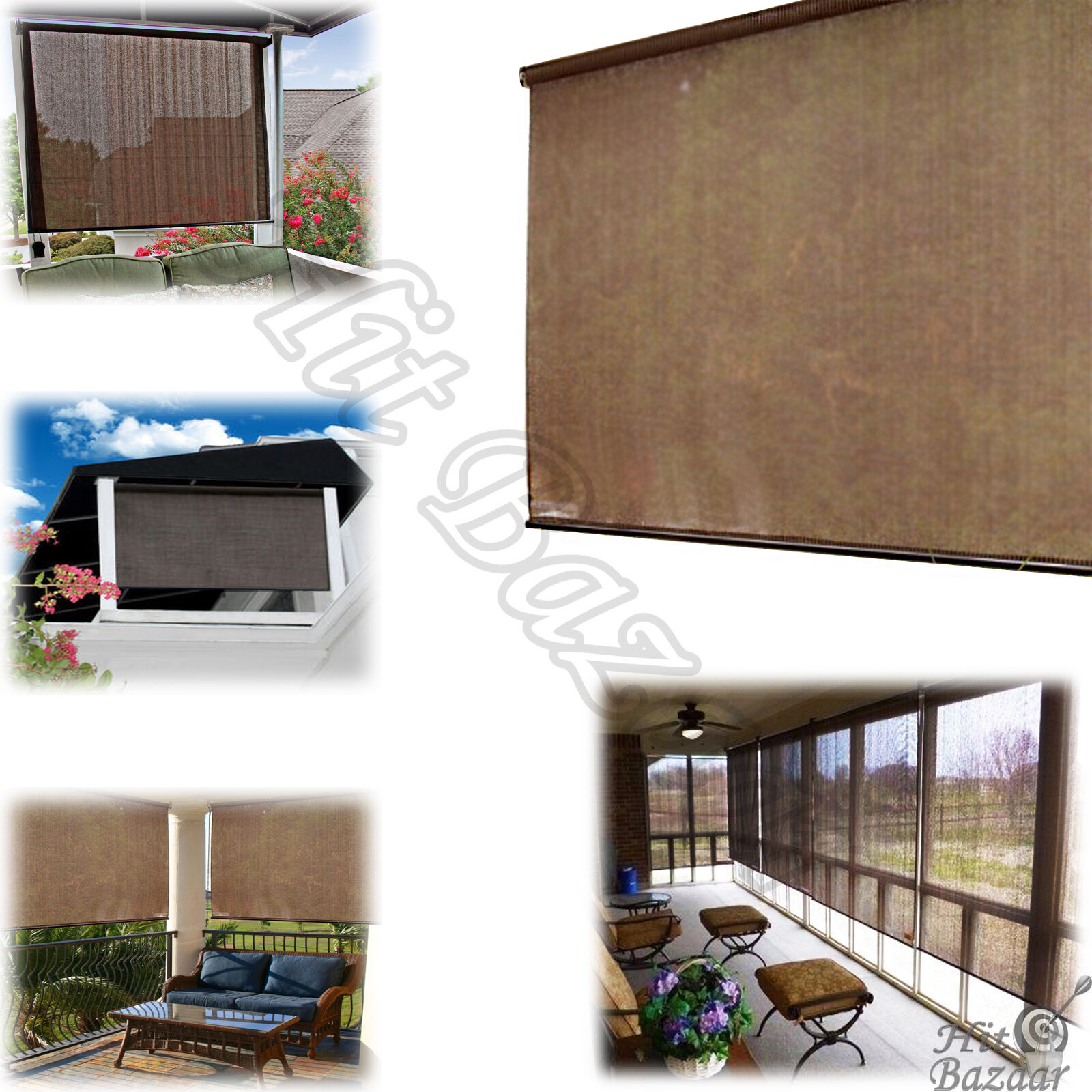 Outdoor Shades Porch Patio Rollup Blinds Exterior Solar Sun Window Roller x72
