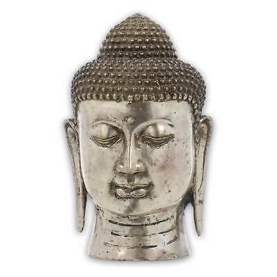 Buda Cabeza Latón Skupltur Figura Estatua Aprox. 18cm Plateado